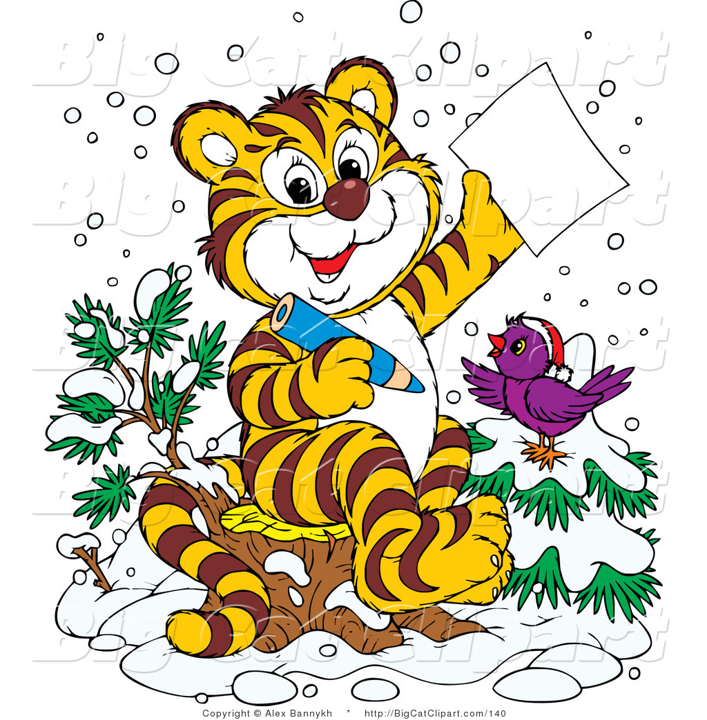 1024x1044 Big Cat Clipart Of A Chirping Purple Bird In The Snow Wearing