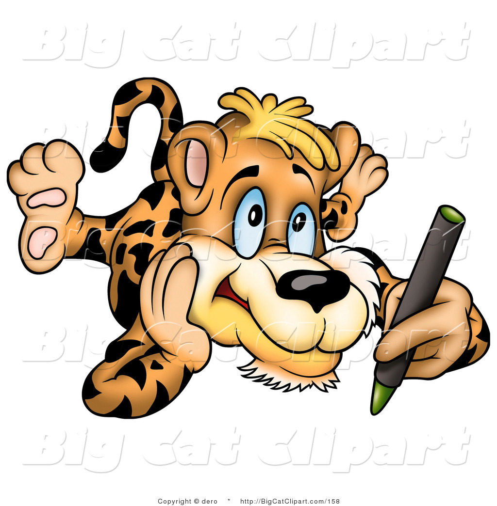 1024x1044 Big Cat Clipart Of An Artistic Leopard Coloring With A Green