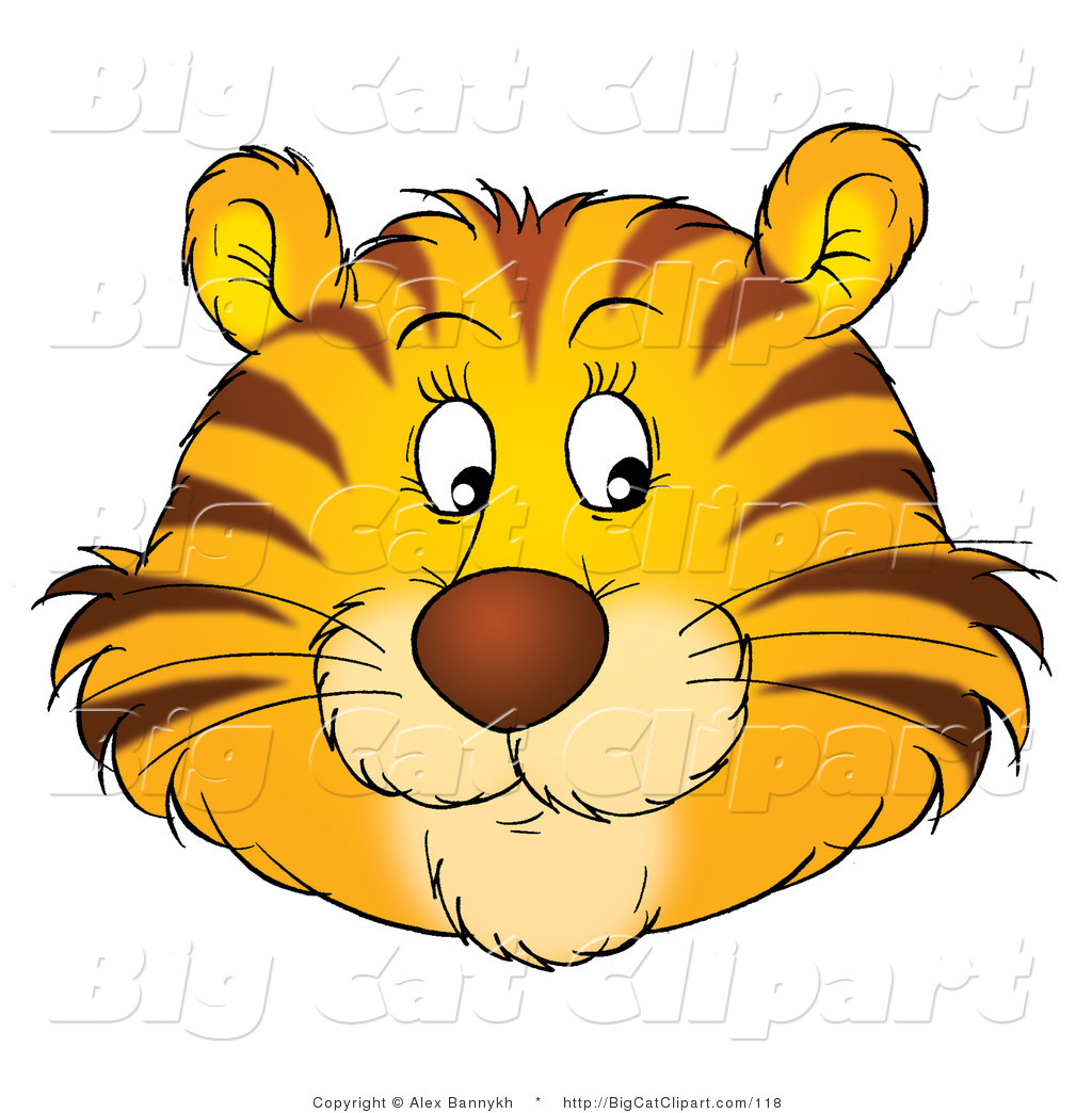 1024x1044 Big Cat Clipart Of A Happy Tiger Face By Alex Bannykh