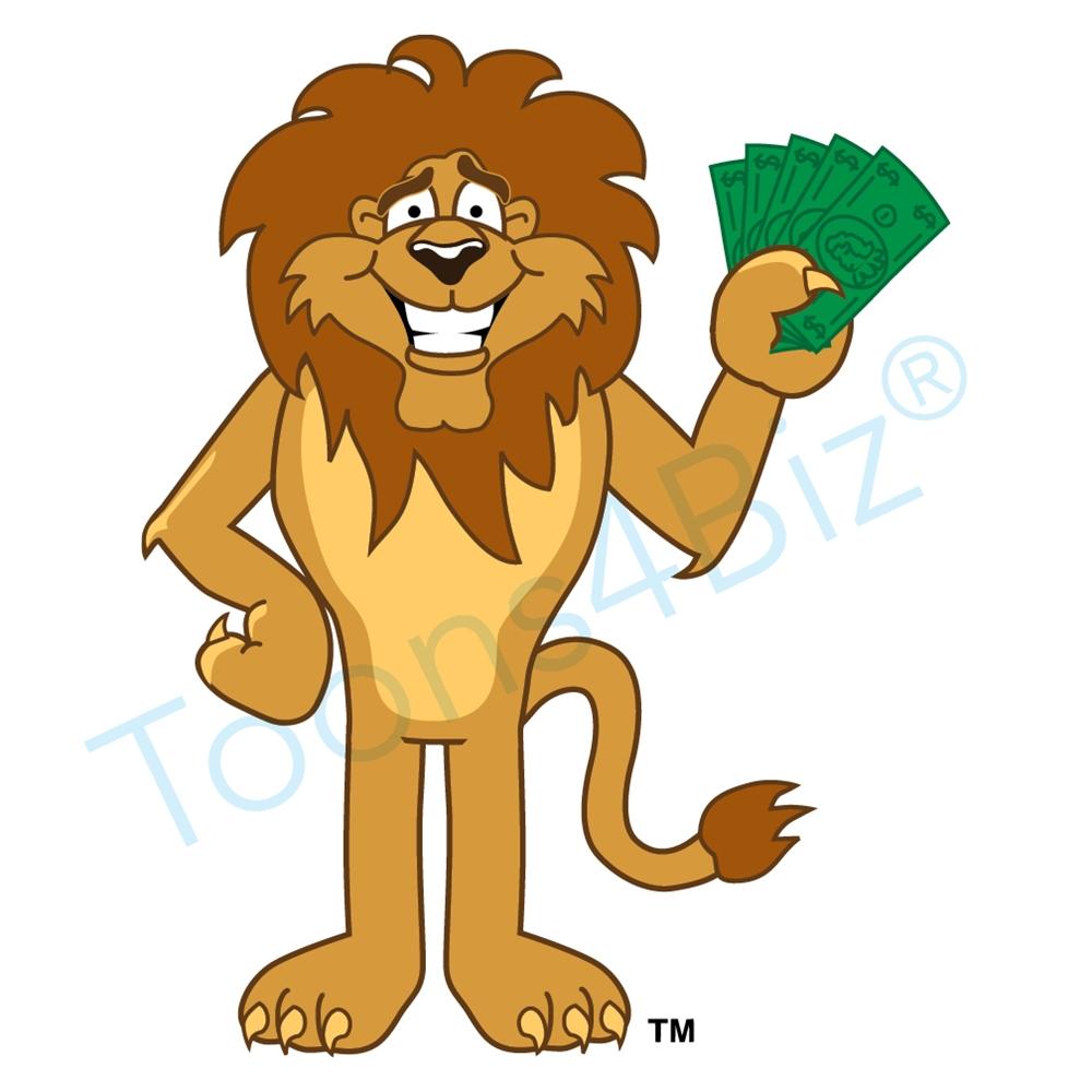 1000x1000 Lion Mascot Holding Money Clip Art Graphic