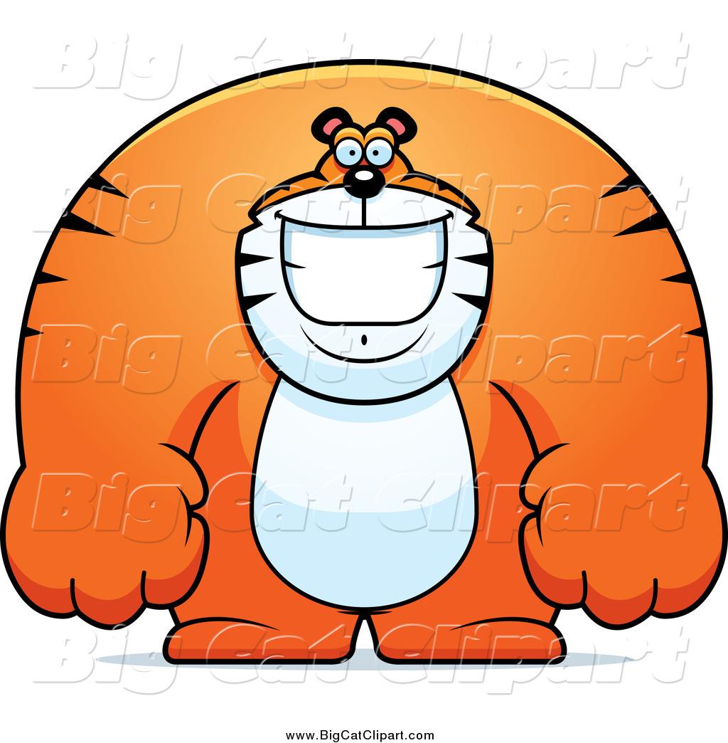 1024x1044 Big Cat Cartoon Vector Clipart Of A Happy Buff Huge Tiger Smiling