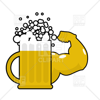 400x400 Mug With Big Muscles, Strong Beer Royalty Free Vector Clip Art
