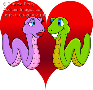 300x290 Vector Clip Art Illustration Of Two Worms Or Snakes Love