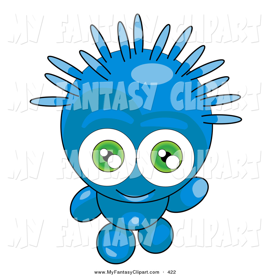1024x1044 Clip Art Of A Happy And Friendly Blue Alien With Spiky Green Hair