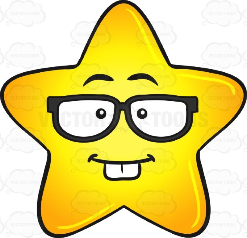 800x770 Nerd Looking Gold Star Cartoon Wearing Eye Glasses Emoji Cartoon