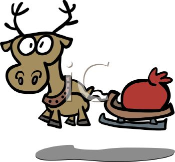 350x323 Picture A Cartoon Reindeer With Big Eyes Pulling A Red Bag