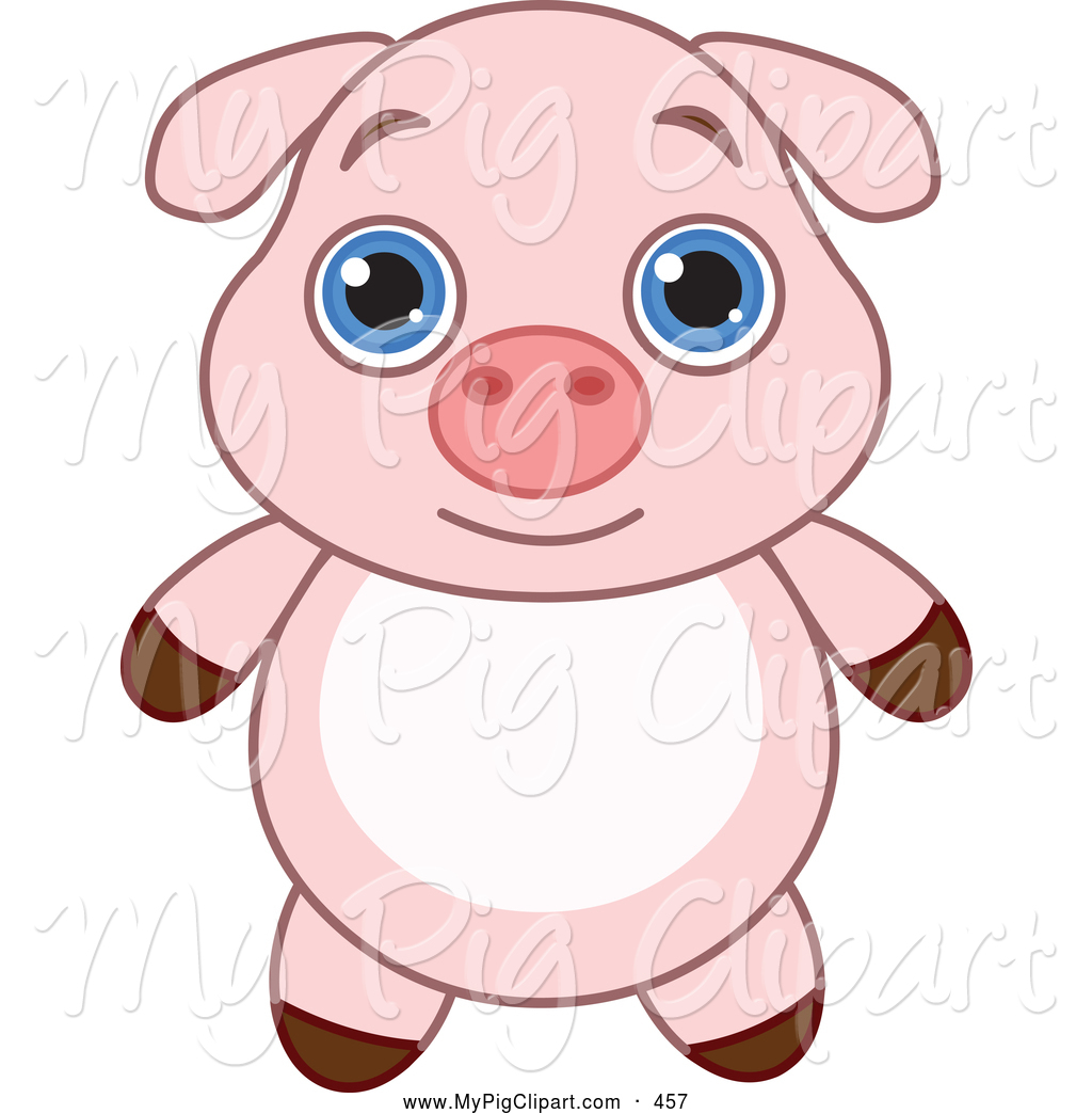 1024x1044 Swine Clipart Of A Cute And Adorable Baby Pink Piglet With Big
