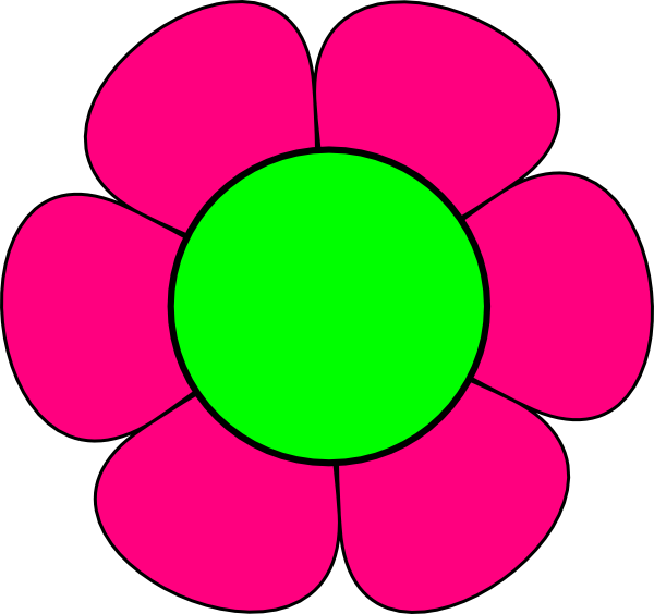 600x564 Large Green And Pink Flower Clip Art