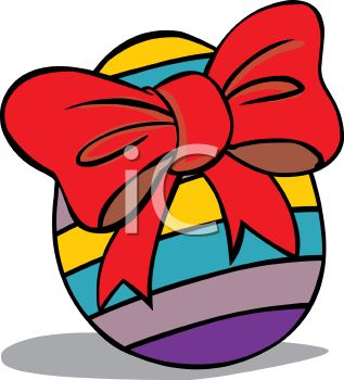 317x350 Cartoon Striped Easter Egg With A Big Bow