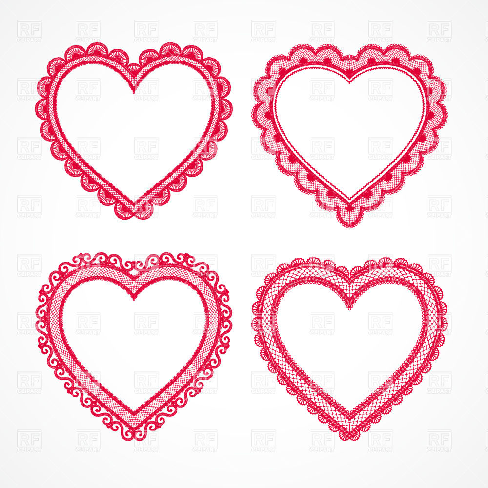 1000x1000 Lacy Heart Set Royalty Free Vector Clip Art Image