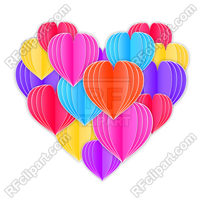 400x400 Big Heart Made From Origami Paper Hearts On White Background