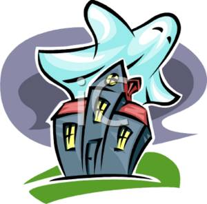 300x296 Clipart Illustration Of A Haunted House And A Big White Ghost