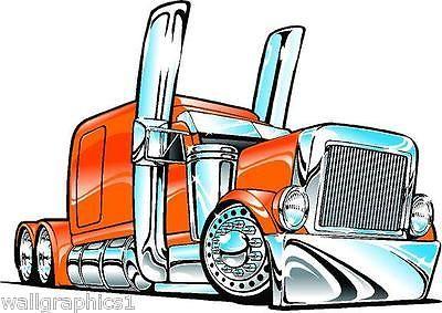 400x283 Peterbilt Big Rig Semi Truck Cartoon 3 Sizes Decal Wall Graphic
