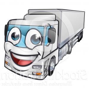 300x300 Royalty Free Clip Art Vector Logo Of A Happy Grayscale Big Rig