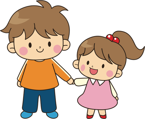 500x411 Older Brother And Younger Sister Public Domain Vectors