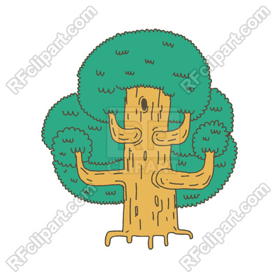 400x400 Big Tree Sketch Isolated Royalty Free Vector Clip Art Image