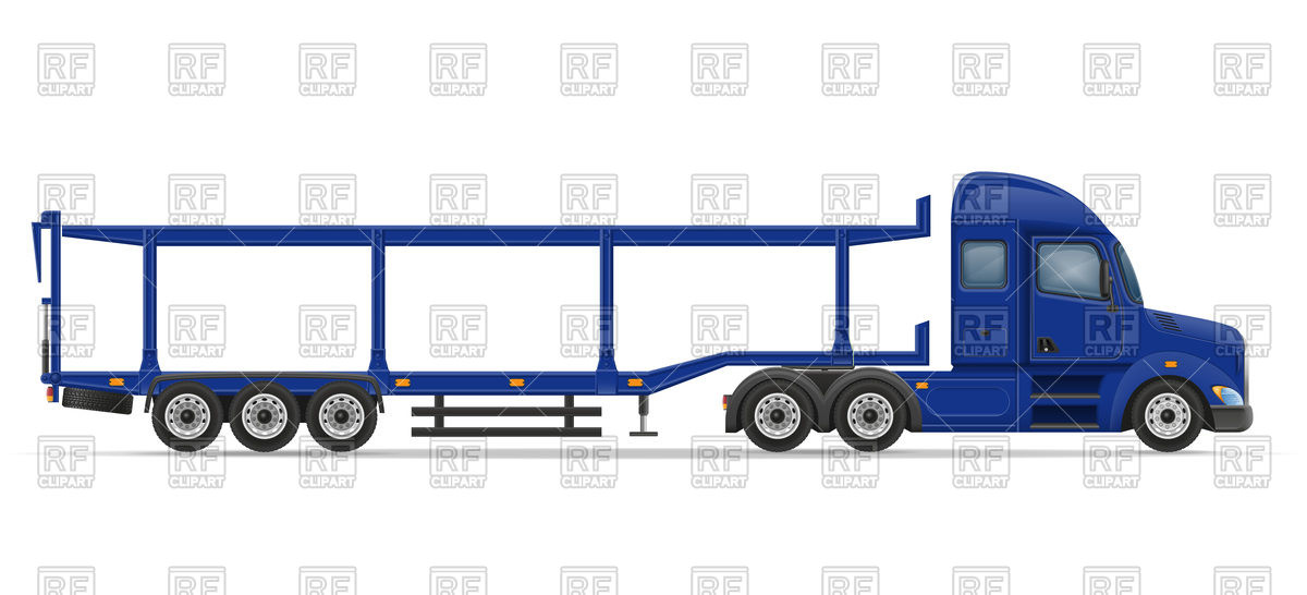 1200x546 Side View Truck Semi Trailer For Transportation Of Cars Royalty