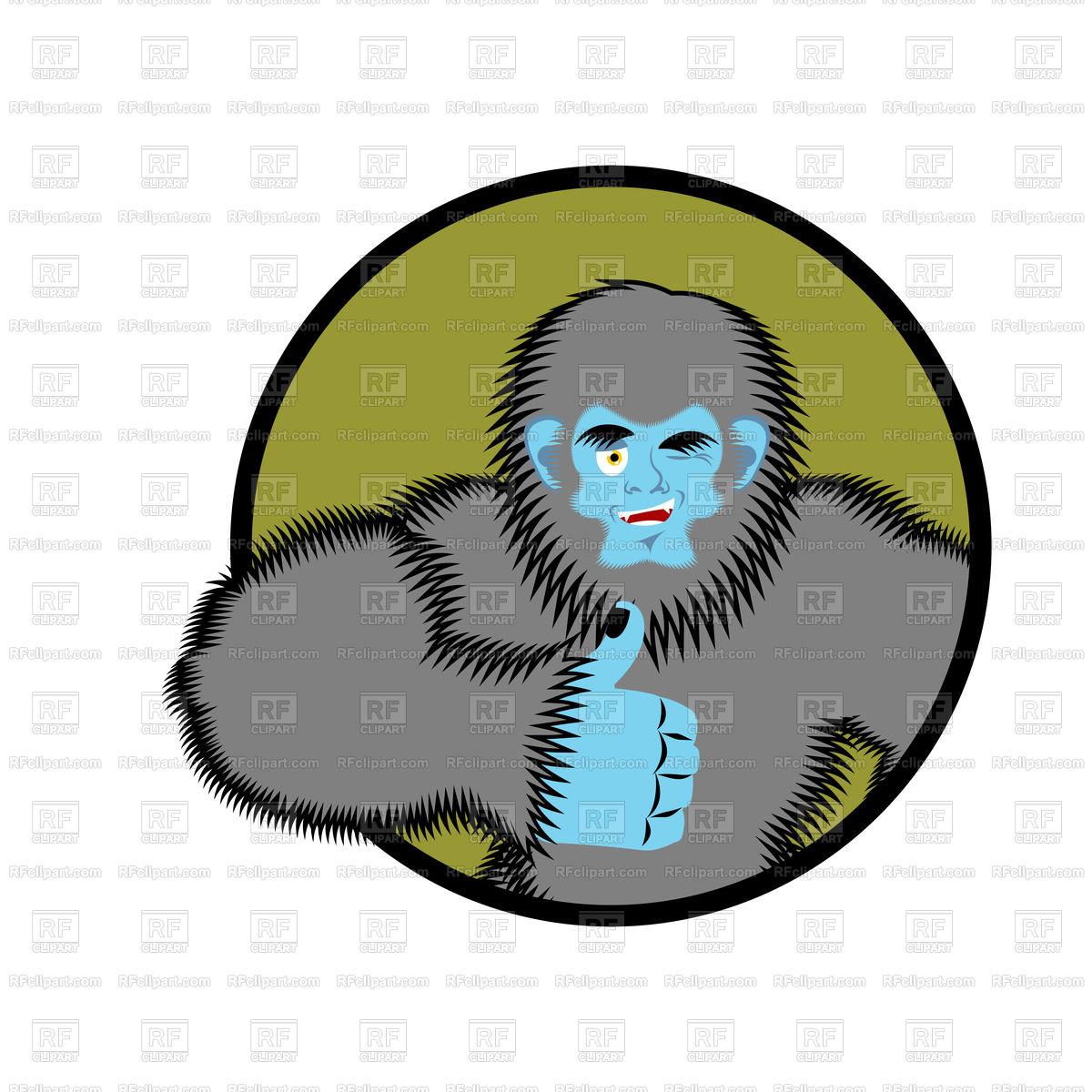 1200x1200 Bigfoot Thumbs Up. Yeti Winks Emoji. Royalty Free Vector Clip Art