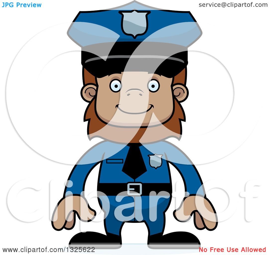 1080x1024 Clipart Of A Cartoon Happy Bigfoot Police Officer