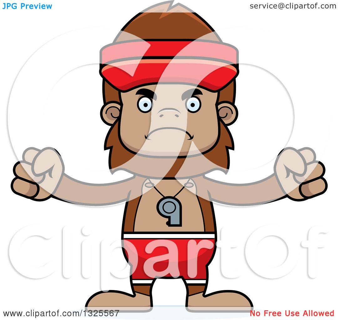 1080x1024 Clipart Of A Cartoon Mad Bigfoot Lifeguard