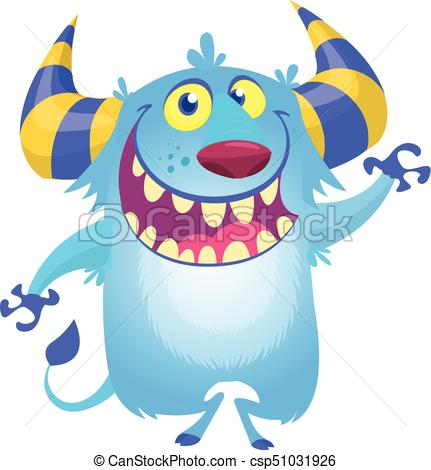 431x470 Cute Fluffy Blue Monster Yeti. Vector Bigfoot Character Vector