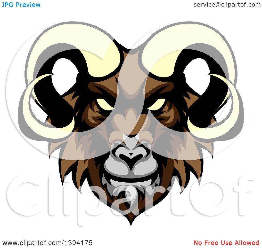 1080x1024 Clipart Of A Cartoon Demonic Angry Ram Head Mascot