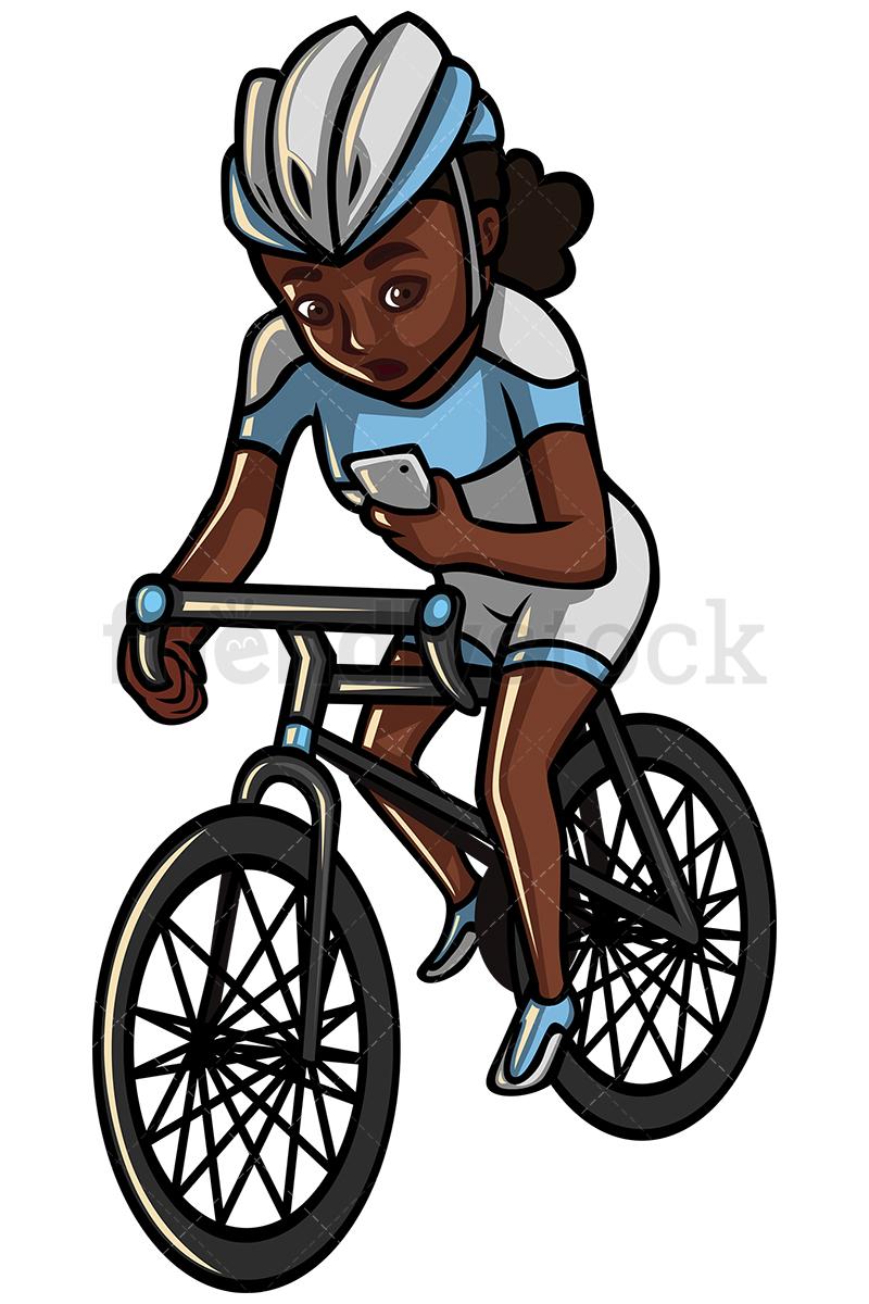 800x1200 Black Woman Texting While Riding A Bike Vector Cartoon Clipart