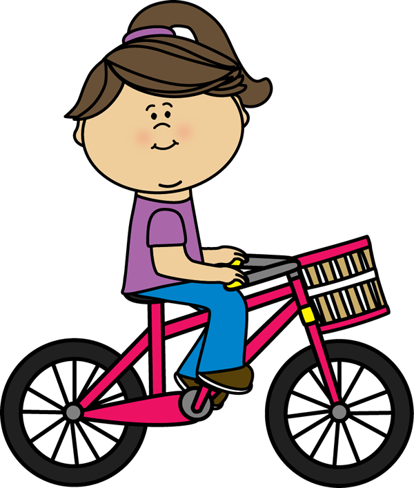 600x707 Girl Riding A Bicycle With A Basket Transportation Clip Art