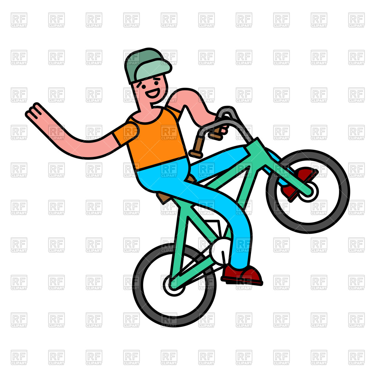 1200x1200 Tricks On Bicycle. Guy On Bike. Repent Of Bmx Royalty Free Vector