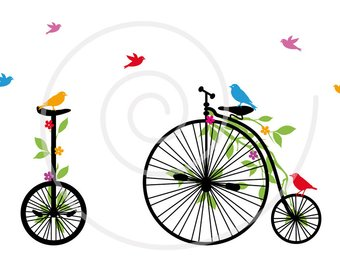 340x270 Vintage Bicycle With Flowers, Tree And Birds, Digital Clipart