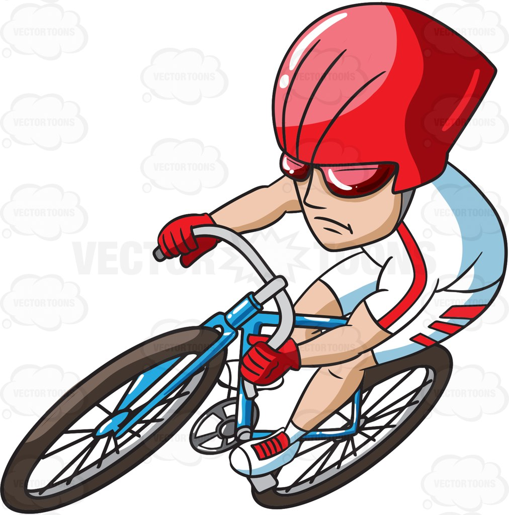 1012x1024 A Cycling Man Making A Curve Cartoon Clipart Vector Toons