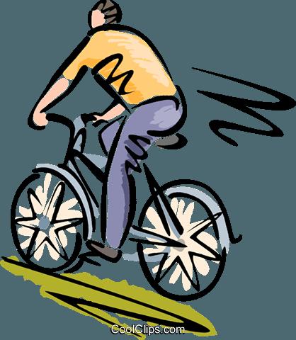 418x480 Man Riding His Bicycle Royalty Free Vector Clip Art Illustration