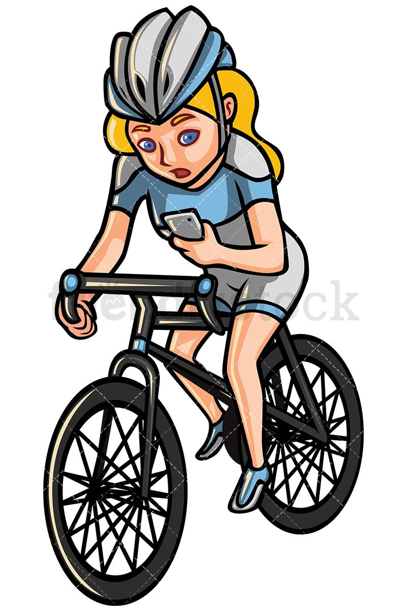 800x1200 Woman Checking Phone While Riding Bike Vector Cartoon Clipart