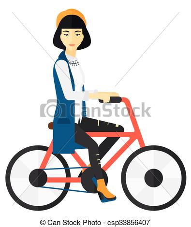 395x470 Woman Riding Bicycle. An Asian Woman Riding A Bicycle Vector