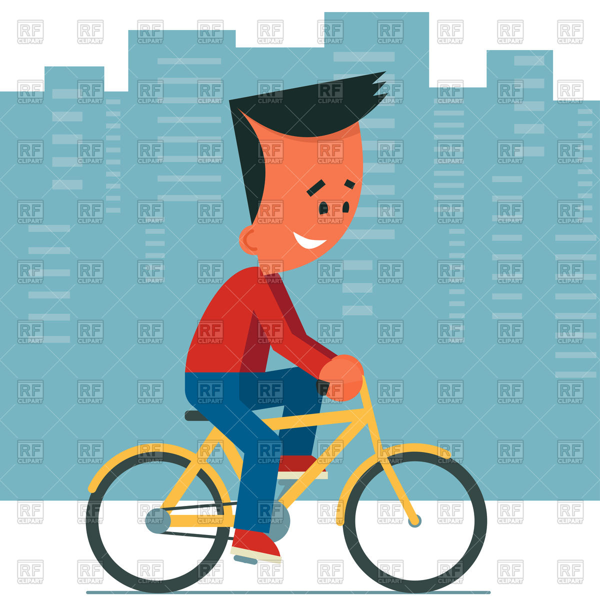 1200x1200 Cartoon Young Man Riding A Bicycle