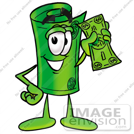450x450 Clip Art Graphic Of A Rolled Greenback Dollar Bill Banknote