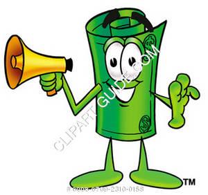 300x282 Clipart Cartoon Dollar Bill Character Holding A Bullhorn