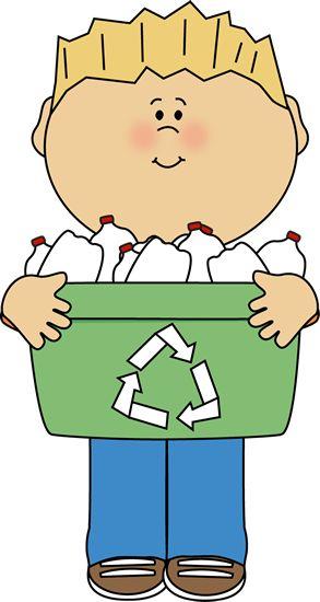 293x550 Boy With Recycle Bin Clip Art