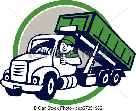 450x367 Roll Off Bin Truck Driver Thumbs Up Circle Cartoon . Clip Art