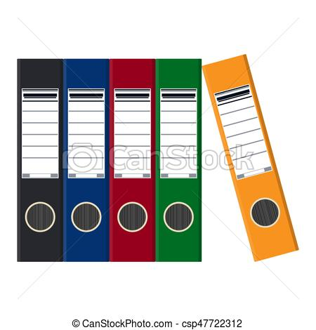 450x470 Files, Ring Binders, Colorful Office Folders. Side View . Vector