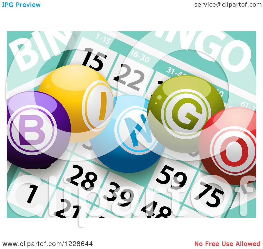 1080x1024 Clipart Of 3d Bingo Balls Over Cards