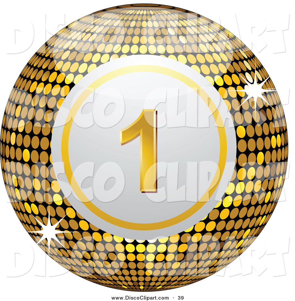 1024x1044 Vector Music Clip Art Of A Shiny Gold Number One Disco Bingo Ball