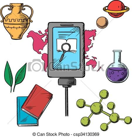 450x466 History And Biology Science Icons With A Central Tablet Clip