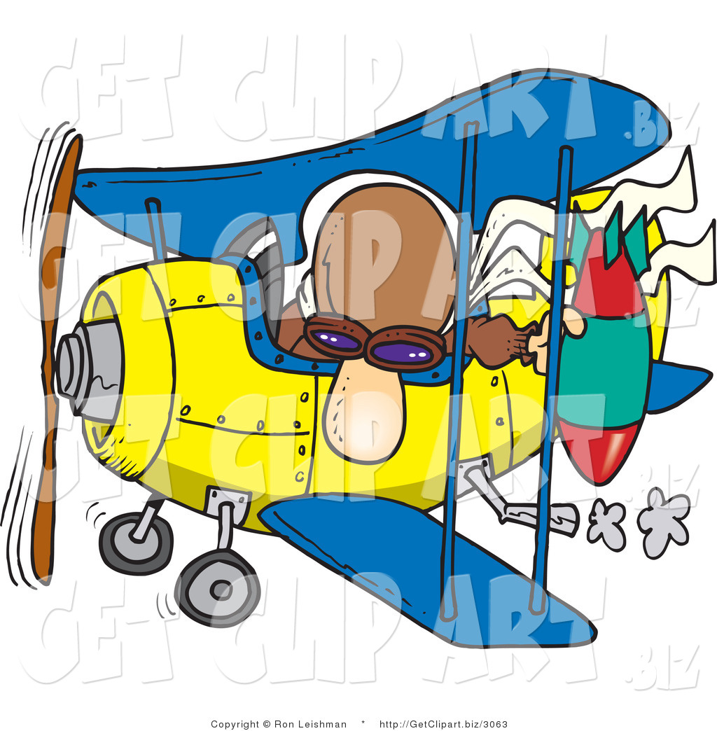 1024x1044 Cliprt Of Curious Bomber Man In Biplane Preparing To Drop