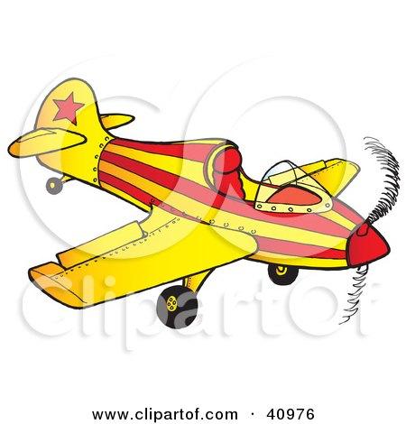450x470 Clipart Illustration Of Pilot Flyingn Orange Biplane While