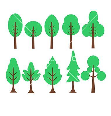 380x400 Cartoon Trees Set Vector Cartoon Set Isolated Birch Tree Foliage