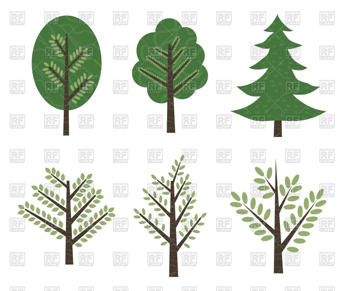 1200x1015 Set Of Trees Aspen, Birch, Oak Royalty Free Vector Clip Art Image