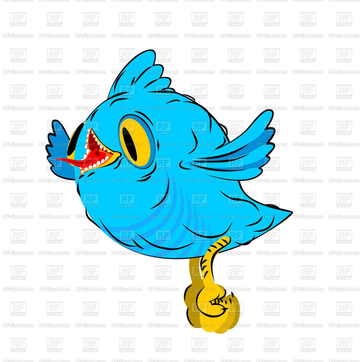 1200x1200 Blue Little Bird Cartoon Style Royalty Free Vector Clip Art Image