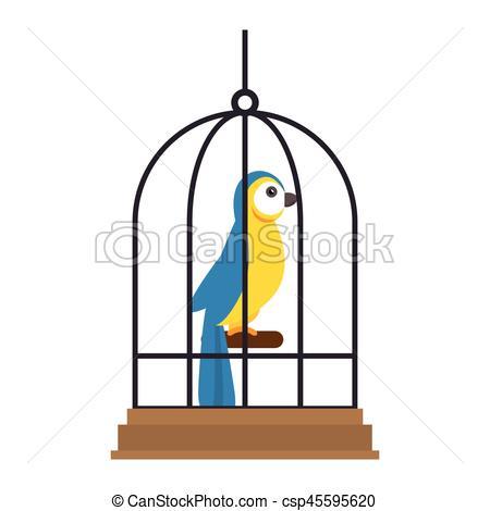 450x470 Cute Bird In Cage Mascot Vector Illustration Design Vector