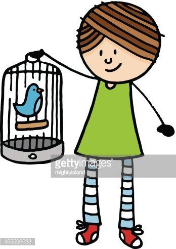 348x492 Girl Holding Bird Cage With Bluebird Stock Vectors